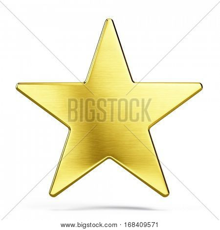 Gold star isolated on white - 3d rendering