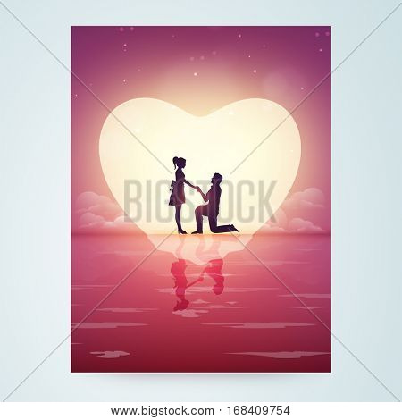 Creative Flyer, Banner, Pamphlet with silhouette of young man proposing to his beloved on beautiful nature background for Happy Valentine's Day Celebration.