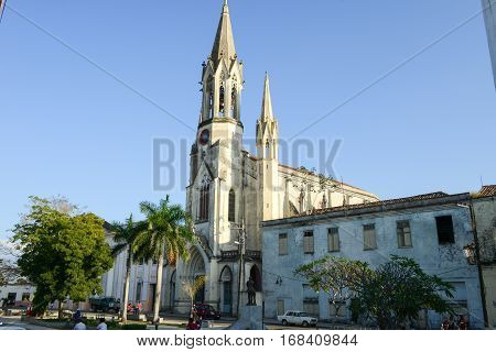 Camaguey Cuba - 11 January 2016: Sacred Heart of Jesus Cathedral at Marti park in the evening at Camaguey Cuba