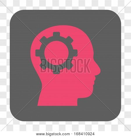 Intellect Gear interface toolbar button. Vector icon style is a flat symbol in a rounded square button pink and gray colors chess transparent background.