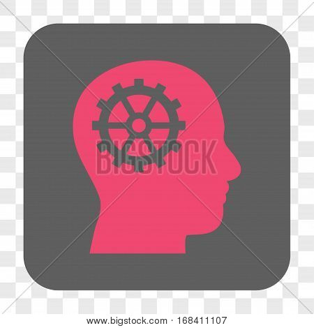 Intellect interface toolbar button. Vector icon style is a flat symbol inside a rounded square button pink and gray colors chess transparent background.