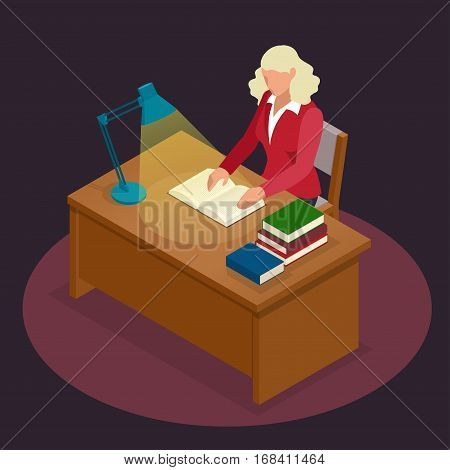 Education and school, study and literature. Flat isometric young woman sitting in the library and reading a book, journal or magazine. Flat style vector illustration