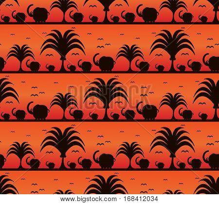 Savanna pattern with elephants at sunset background. Vector illustration of Africa landscape.