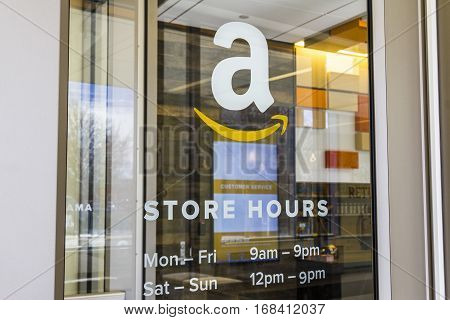 Lafayette - Circa February 2017: Amazon Store at Purdue. A brick-and-mortar store customers can receive products from Amazon.com IV