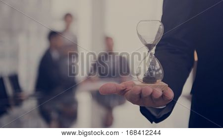 Business Man Hour Glass Time