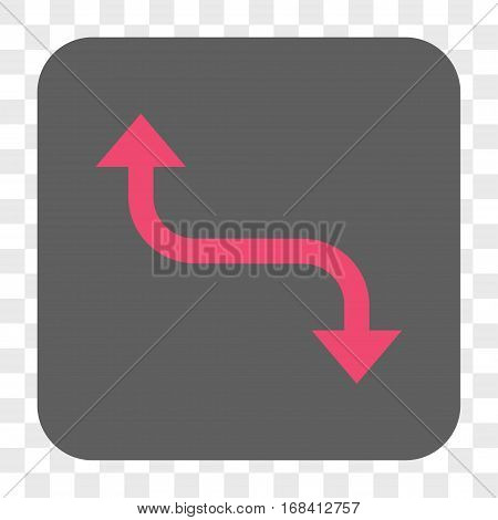Opposite Bend Arrow interface toolbar button. Vector icon style is a flat symbol on a rounded square button pink and gray colors chess transparent background.
