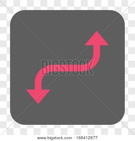 Opposite Curved Arrow interface toolbar button. Vector icon style is a flat symbol inside a rounded square button pink and gray colors chess transparent background.