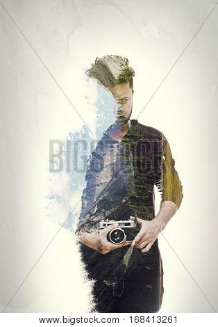 Close up double exposure portrait of a photographer guy holding vintage camera wearing dark brown shirt isolated on white background