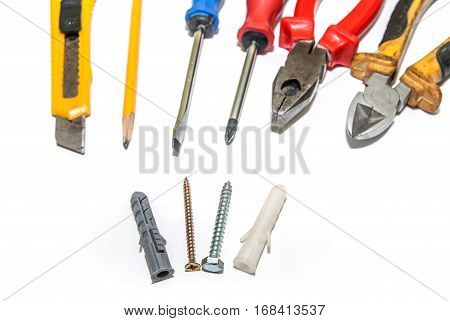 nice set of tools. Dowel and screw screwdriver pliers pencil