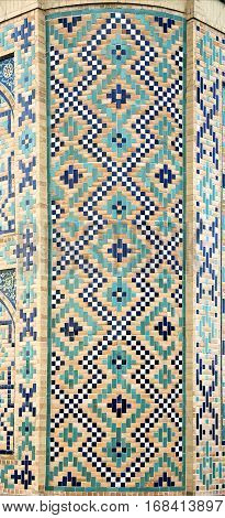 Old Eastern mosaic on the wall of a mosque, Uzbekistan