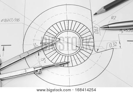 abstract engineering drawings with pencil and compass