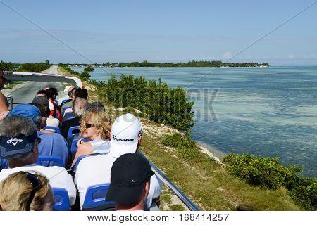 Cayo Coco Cuba 16 january 2016 - People on a touristic bus at Cayo Coco Cuba