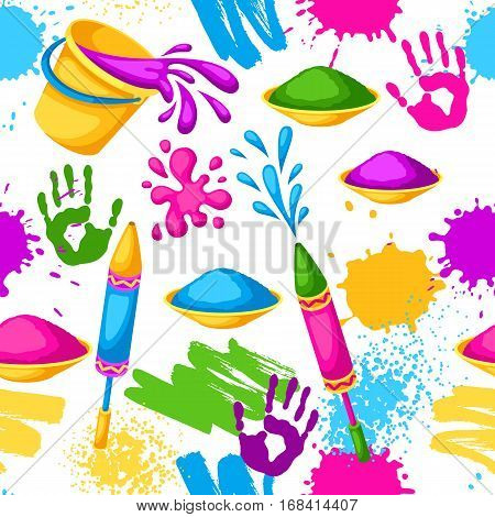 Happy Holi colorful seamless pattern. Illustration of buckets with paint, water guns, flags, blots and stains.