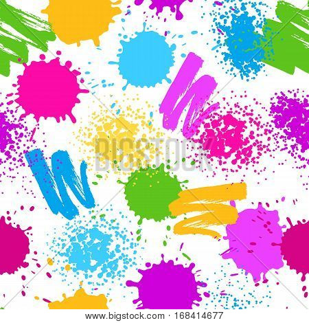 Colorful seamless pattern. Grunge background with paint splashes, blotches, spots and drops.