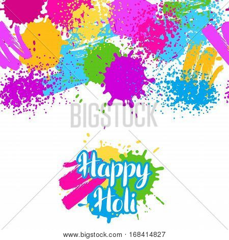 Happy Holi colorful seamless pattern. Grunge background with paint splashes, blotches, spots and drops.