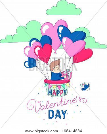 Happy Valentine's Day party greeting card invitation funny boy character flying with hot air heart balloons holding present. Line flat design kid's style. Vector illustration.