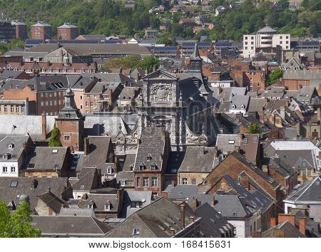 Gorgeous vintage architecture of Namur as seen from Namur Citadel, Belgium