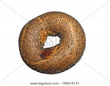Freshly baked Bagel with Poppy-seed on a white background