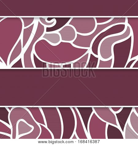 Abstract doodle lilac greeting card with swirls motives. Vector illustration