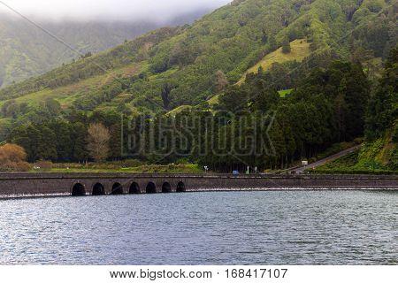 Bridge on lake Sete Cidades, the Azores, Portugal