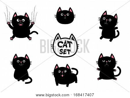 Black fat cat set. Nail claw scratch sitting smiling. Cute cartoon screaming funny character. Excoriation track line. Baby pet collection. White background. Isolated. Flat design Vector illustration