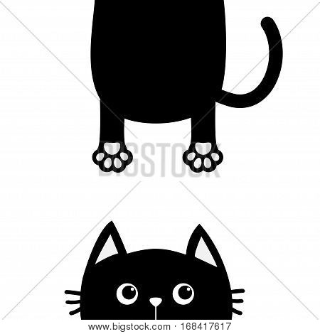 Black cat Funny face head silhouette looking up. Hanging fat body with paw print tail. Cute cartoon character. Kawaii animal. Baby pet card. Flat design. White background Isolated Vector illustration