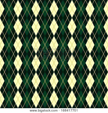 seamless vector green geometric traditional scottish rhomb pattern