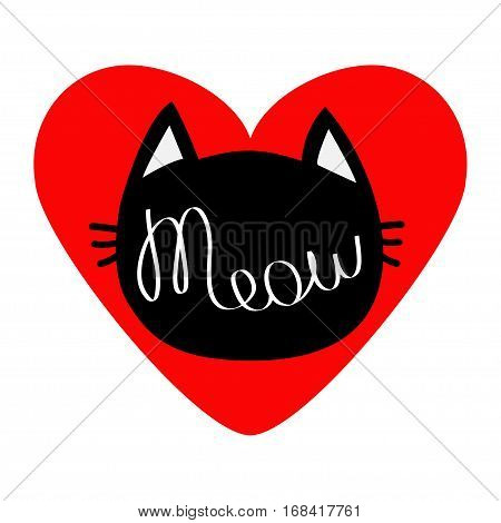 Black cat head silhouette shape. Meow lettering text. Love card. Cute cartoon character. Big red heart. Kawaii animal. Baby pet collection. Sign Symbol. Flat White background. Isolated. Vector