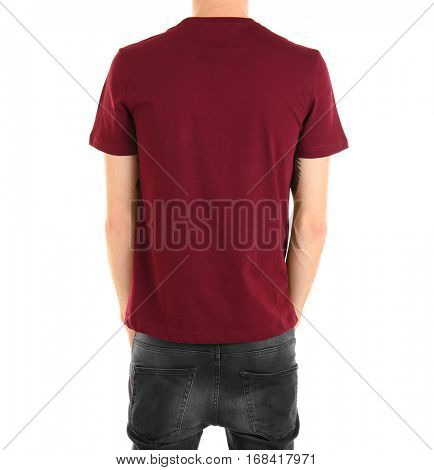 Closeup of man in claret red T-shirt isolated on white