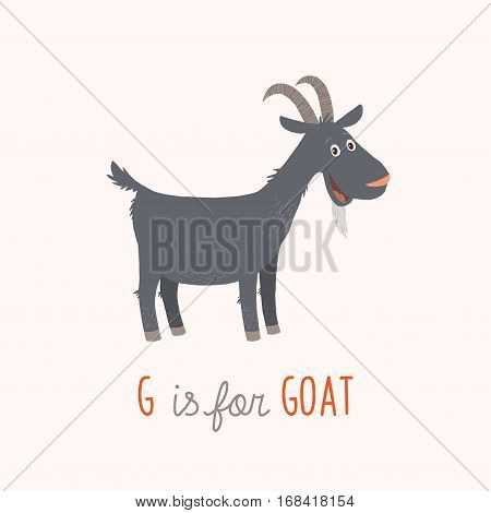 Cartoon black goat. G is for Goat. Vector clipart eps 10 hand drawn illustration isolated on white.