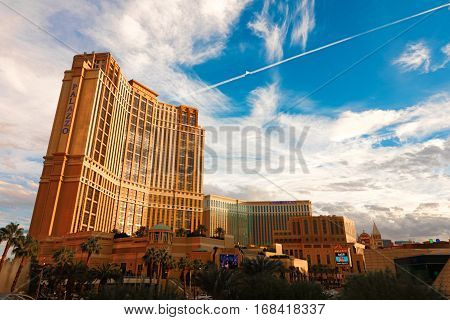 LAS VEGAS - Oct 6: The Palazzo luxury hotel and casino resort located on the Strip in Las Vegas, Nevada. It is the tallest completed building in Nevada, as seen on October 6, 2016.
