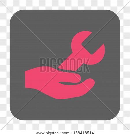 Repair Service interface toolbar button. Vector icon style is a flat symbol inside a rounded square button pink and gray colors chess transparent background.