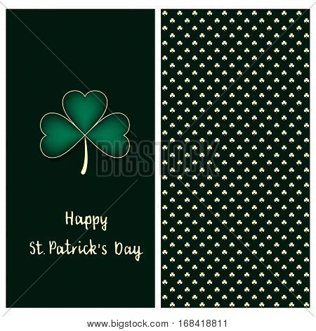 holiday green set with a postcard with hand drawn silver clover and text happy saint Patrick`s day and clover seamless vector pattern