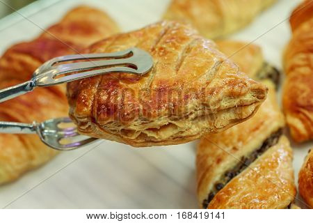 Closeup On Apple Turnovers In French Pastry
