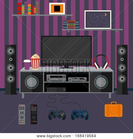Vector illustration apartment with a home cinema. Illustration flat TV.
