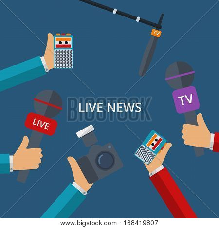 Vector illustration of live news. Hands with microphones , tape recorders , camera.