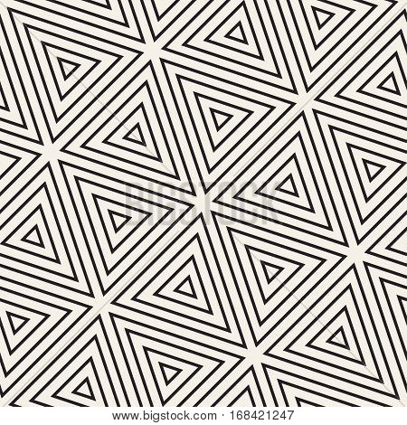 Stylish Minimalistic Triangle Shape Lines Grid. Abstract Geometric Background Design. Vector Seamless Black and White Pattern.