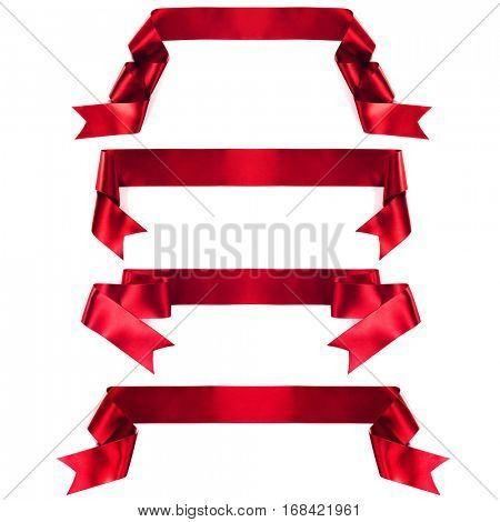 Red banner ribbon set isolated on white background
