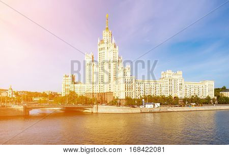 The stalinist skyscraper on the Kotelnicheskaya embankment in Moscow Russia