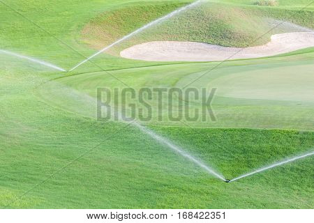 Two sprinklers watering system working in fairway and sand bunker of green golf course.