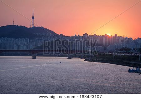 Seoul City And Han River, South Korea.