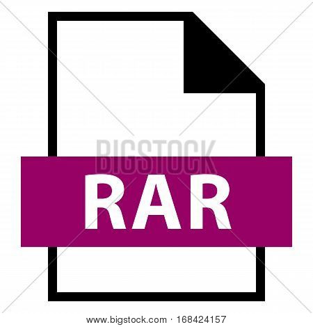 Use it in all your designs. Filename extension icon RAR Roshal Archive in flat style. Quick and easy recolorable shape. Vector illustration a graphic element.