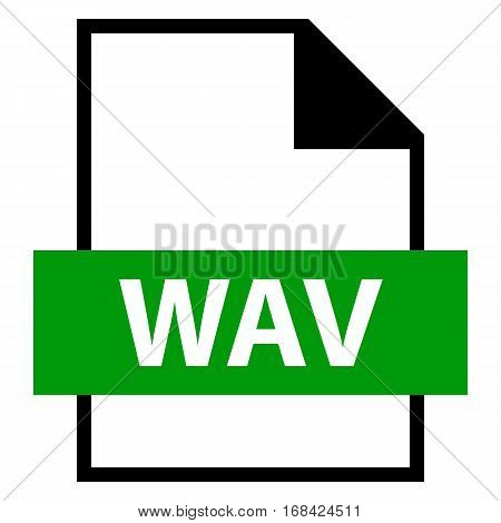 Use it in all your designs. Filename extension icon WAV or WAVE Waveform Audio File Format in flat style. Quick and easy recolorable shape. Vector illustration a graphic element.