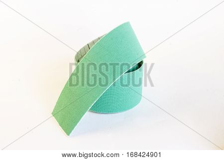 Green Isolated Tape With White Background With Shadow