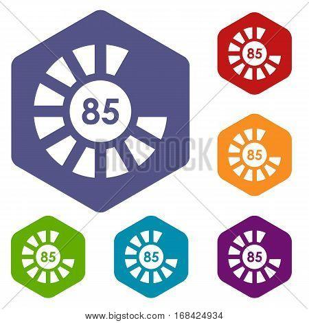 Sign 85 load icons set rhombus in different colors isolated on white background