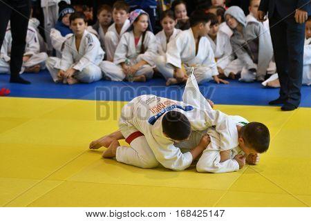 Orenburg, Russia - 05 November 2016: Boys compete in Judo on VI city Judo tournament on prizes the head of the city of Orenburg.