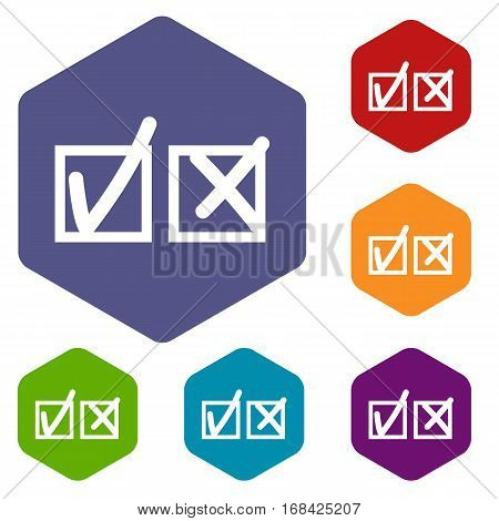 Checkmark to accept and refusal icons set rhombus in different colors isolated on white background