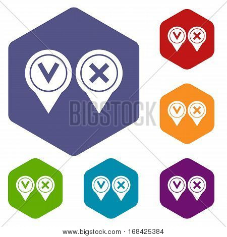 Tick affirmative and negative icons set rhombus in different colors isolated on white background