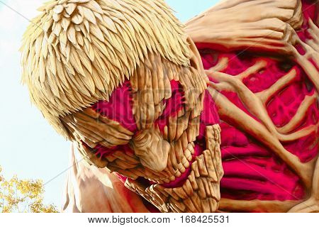 Osaka, Japan - Jan 21 2017:Attack on Titan attraction opens at Universal Studios japan captures the scale of the life size statue