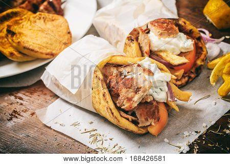 Greek Gyros Wraped In A Pita Bread